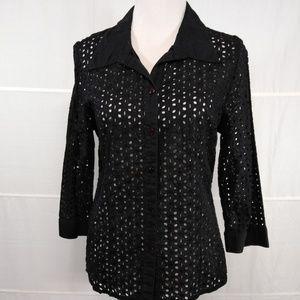 CHRISTOPHER & BANKS Black Long Sleeve Shirt Size L